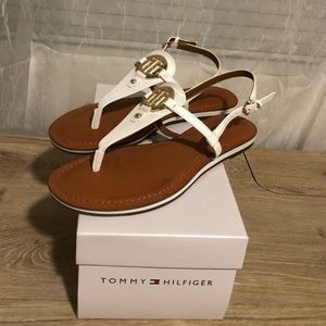 New Tommy Hilfiger Ankle Strap White Sandals 8